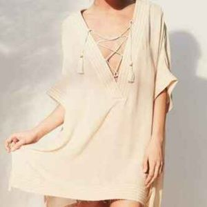 Out From Under Lola Beach Laceup Kimono Top L